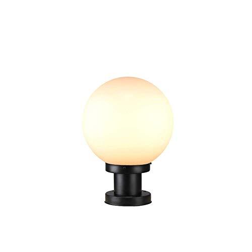Modern Kugelleuchten Außenlampe Weiß Acrylschirm Rasenlampe Sockelleuchten Schwarze Kunststoff Basis Zaunleuchte Gartenlampe Eingangs Terrassen Garten Wege Beleuchtung, φ25*H34CM
