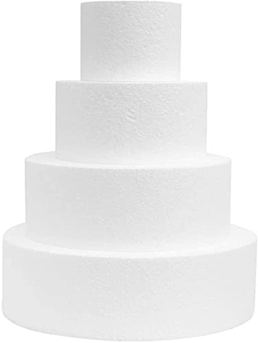 Zeus Party Set 4 pz Base-Disco di Polistirolo per Torta Compleanno Bambini cm H 10-Ø 30, 25, 20, 15 cm