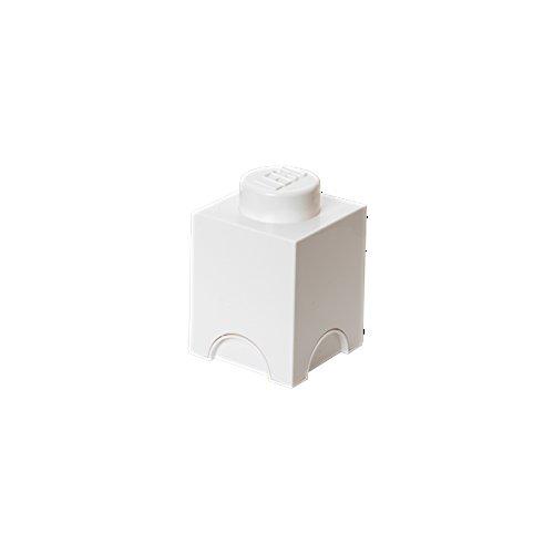 LEGO Aufbewahrungsstein, 1 Noppe, stapelbare Aufbewahrungsbox, 1,2 l, weiß