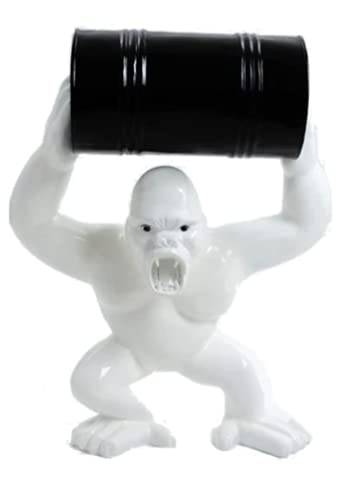 Estatua de resina decorativa gorila 40 cm, color blanco y negro