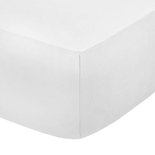 Sleep&Beyond Easy Care Percale 12'' (30CM) Deep Fitted Sheet (White, 4Ft Small Double)
