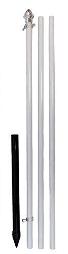 10ft Aluminum (White) Outdoor Pole with Ground Spike