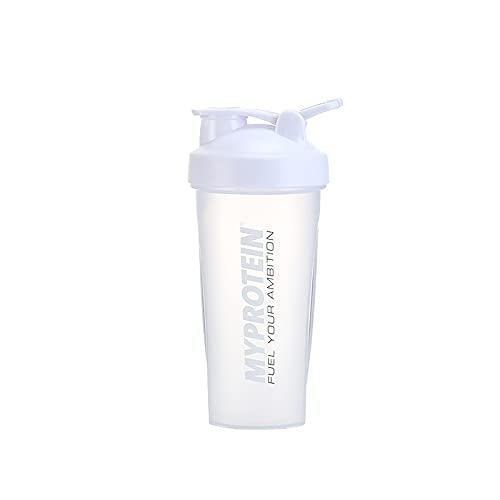 ZPEE Botella de Agua, Taza de Agitación, Proteína en Polvo Fitness Sports Shaking Cup, Vaso de Agua de Plástico, Taza de Agua para Deportes Al Aire Libre,White