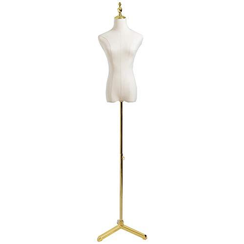 LRHYG Schneiderpuppe Weiblich Torso Karosserie Mannequin Ohne Arme Metall Standfuß Höhe Ist Verstellbar Verfügbar In 2 Farben Und 2 Größen Zur Anzeige Von Kleidung (Color : Golden, Size : M)