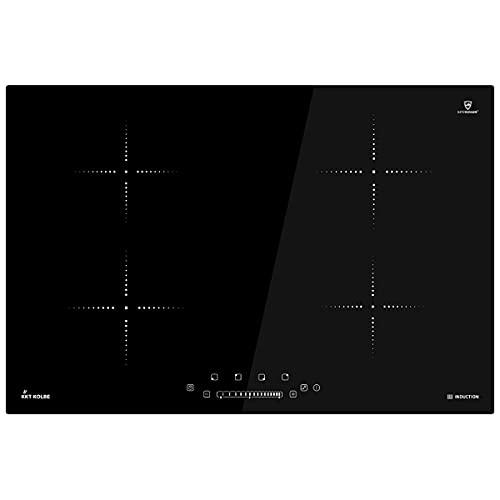 KKT KOLBE Encimera de inducción 77cm / Autárquica / 6kW / 9 pasos / 4 zonas/sin marco/teclas sensoriales TouchSelect/control deslizante/amplificador/pantalla LED / IND8000RL