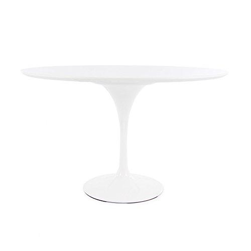 Mesa redonda estilo tulipán., Laca de alta resistencia blanca AC, 120cm DINING HEIGHT