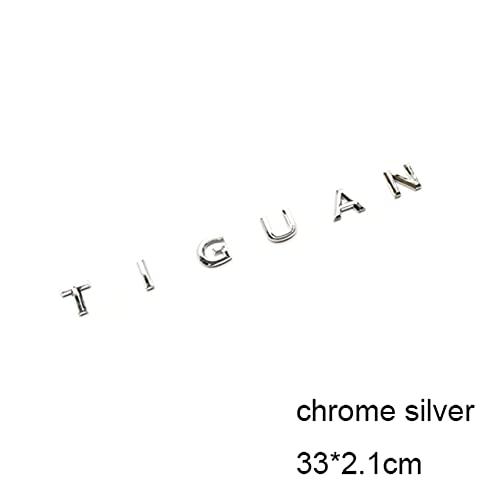Emblema De Repuesto Compatible con Tiguan Car Styling Reaciadamente Capucha Mediana Tronco Integratación Insignia Etiqueta engomada Chrome Matte Glossy Negro 3D Letras Emblema Etiqueta del emblema