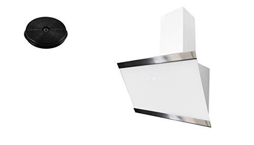 respekta Umluftset_CH88060WA+MIZ1000 Dunstabzugshaube Schräghaube kopffrei weiß 60 cm + Aktivkohlefilter