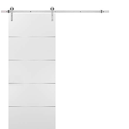 Barn Sliding White Door 36x96 with Stainless Steel Hardware | Planum 0020 Matte White | Rail 6.6FT Hangers Silver Set | Closet Modern Solid Core Door