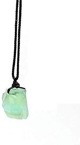 NC188 Collares Pendientes de Piedra para Mujer Collares Pendientes de fluorita Verde Irregular de Piedra Natural Vintage con Cadena de Cuerda Adornos navideños Regalo para Mujeres