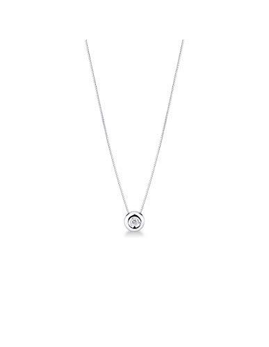 Gioielli di Valenza - Collana Punto Luce a cipollina in Oro Bianco 18k con Diamante - 1PROMO