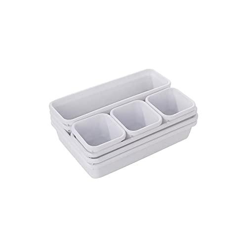 Wzdszuilsn Organizador Cubiertos, Organizador cajas de bandejas para el hogar Almacenamiento de oficina Cocina Armario de baño Caja de escritorio Caja Organización Cajón Cubiertos Cubiertos Bandeja de