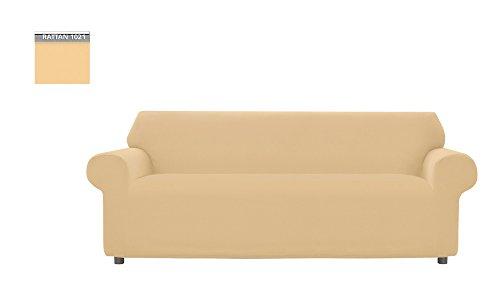 Funda de sofá Genius liso para sofá de 3 plazas, color ratán, 1021