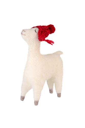 Gift Company - Alpaca met rode muts - wol/polyester - wit/rood - 5,5 x 17 x 11 cm