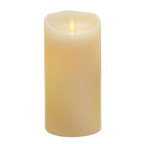 Flameless Candle Battery Operated Electric LED Pillar Candle with Remote and Timer Function, Real Wax Candle with Realistic Dancing and Flickering Moving Wick, Vanilla Scented,3.5'x 7',Ivory