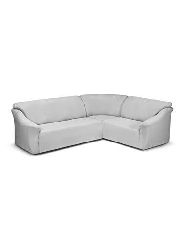 Funda para sofá esquinero Creta de Color Plateado.