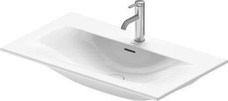Lavamanos para Muebles Duravit Viu 234483, 830 mm, con rebosadero, con Banco para grifos, 1 Agujero para grifos, Color: Blanco - 2344830000