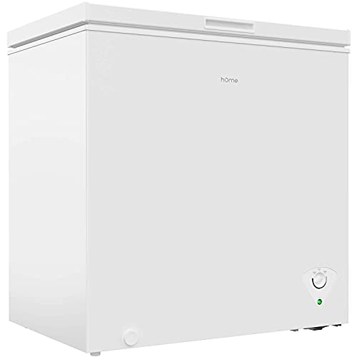 hOmeLabs 7 Cubic Feet Chest Freezer - Top Door Deep Freezer with Manual Defrost and Easy Access Defrost Drain - Home and Office Food Storage with Removable Shelf Basket and Adjustable Thermostat