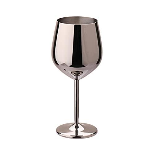 RichAmazon 304 acero inoxidable vino rojo vidrio plata oro rosa pies jugo bebida champán pie taza fiesta bar cocina herramienta 500ml