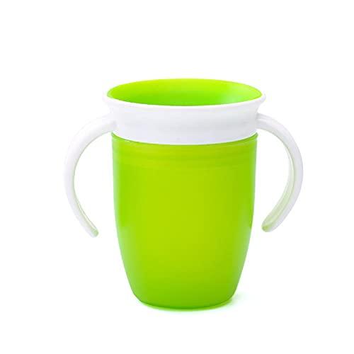 Taza para beber de aprendizaje para bebés que se puede girar 360 grados con tapa abatible de doble asa Tazas de agua para bebés a prueba de fugas