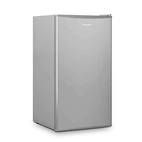 Inventor Nevera Compacta de Compresor y Color Plata, 93 litros de capacidad, Eficiencia Energética F, Silenciosa e ideal para hoteles, estudiantes, oficinas y pequeños hogares