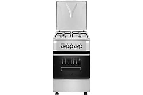 EAS ELECTRIC SMART TECHNOLOGY | EFG555X | Cocina de gas Inox | Color Inox | 50 cm | Gas butano y gas natural | Autoencendido | Horno de 55 litros | Tapa de metal | Parrillas esmaltadas | 4 fuegos