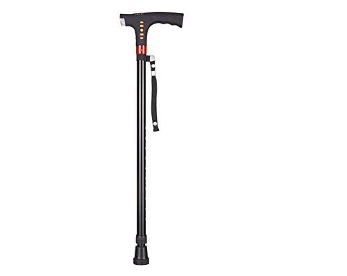 Baton De Marche with Light Pole for Elderly Portable Aluminum Alloy Light, No Safe and Intelligent, Height Adjustable, Radio, Alarm System (Color: Black)