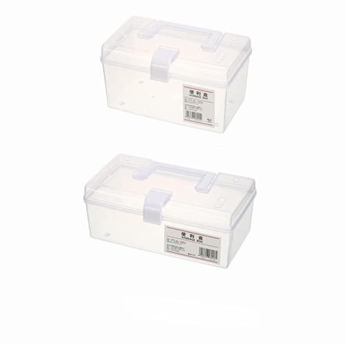 KFGF Caja De Almacenamiento Portátil Transparente Escritorio Del Hogar Con La Tapa Cosméticos De Plástico Conveniente Caja De Almacenamiento Caja De Almacenamiento Caja De Almacenamiento De 2 Psc