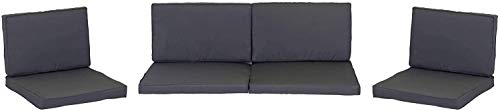Beo Lounge Kissen Monaco | passend für Allibert Lounge-Möbel | Dunkelgrau | 8 Kissen | Bezug Wasser- und schmutzabweisend | mit Reißverschluss | schadstofffrei nach Öko-Tex-Standard