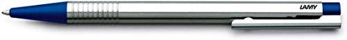 LAMY logo Kugelschreiber 205 – Kuli aus rostfreiem Edelstahl in der Farbe Blau mit integrierter Clip-Drücker-Einheit – Mit Großraummine – Strichbreite M
