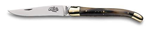 Forge de Laguiole Taschenmesser | 11 cm - Horn - dunkel - Messing Finish glänzend