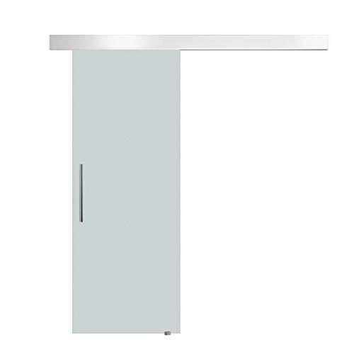 homcom Porta Scorrevole Interna in Vetro Smerigliato con Binario B1 e Maniglia per Bagno Cucina Studio Vetro 205x 90x 0,8cm
