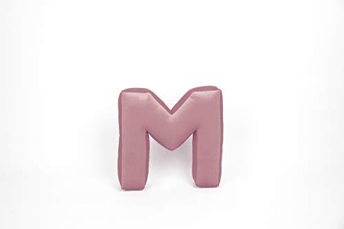 Bettys Home - Cojín con letras, terciopelo, letra: M, color: rosa antiguo, tamaño: 35 x 40 x 12 cm