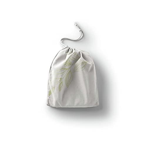 Bonamaison Impreso Algodón Bolsas con Cordón, Bolsa con Cordel para el Hogar y el Almacenamiento de Verduras, Bolso de Compras, Plegable, Ecologica, Reutilizables, Tamaño: 12x15 Cm