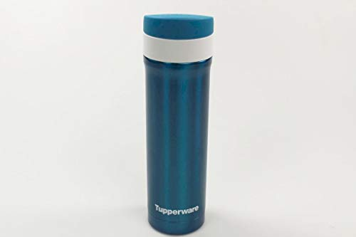 Tupperware Hot & Go Trinkbecher 430ml Metall-Blau Thermobecher Kaffeebecher 37770