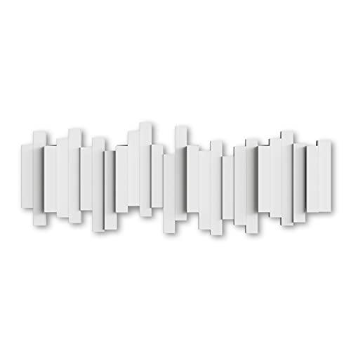 Umbra Stäbchen Garderobenhaken – Moderne und Platzsparende Garderobenleiste mit 5 Beweglichen Haken für Jacken, Mäntel, Schals, Handtaschen und Mehr, Weiss