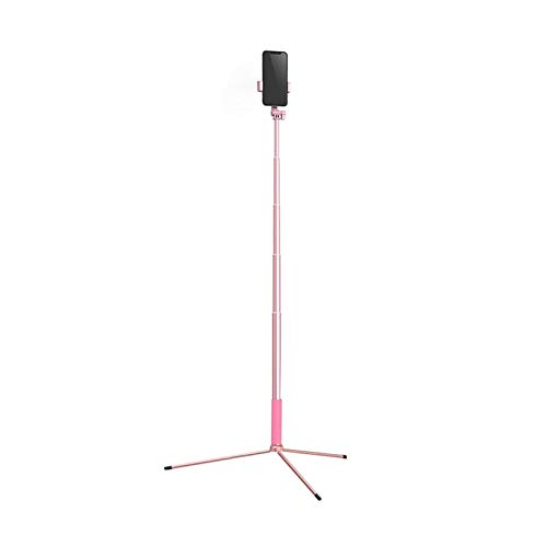 KHUY Selfie Stick con Bluetooth, Soporte Movil para Mesa, Soporte para Movil Tripode Soporte Telefono Soporte Movil del Escritorio para Grabación de Video, hasta 67in (Color : Pink)