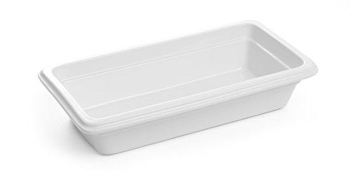 HENDI Gastronormbehälter Hohe Schlag- und Verschleißfestigkeit, geeignet für Mikrowelle, Geschirrspüler, GN 1/3, 325x176x(H)65mm, Weiß Porzellan