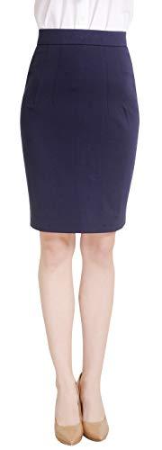 Marycrafts Women's Work Office Business Pencil Skirt M Dark Blue