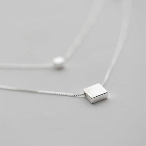 Dfgh Zilver 925 Jewelry Double Layer Square vak Simple Ketting For Women choker