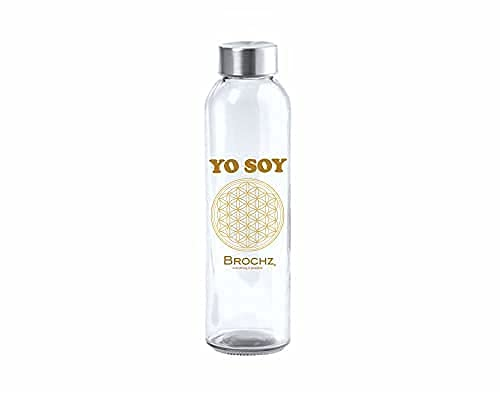 BROCHZ, Botella de Agua de Cristal con Mensajes Positivos, 500 ml, sin BPA, Botella de Agua Reutilizable, con Tapón de Rosca de Acero Inoxidable, YO Soy