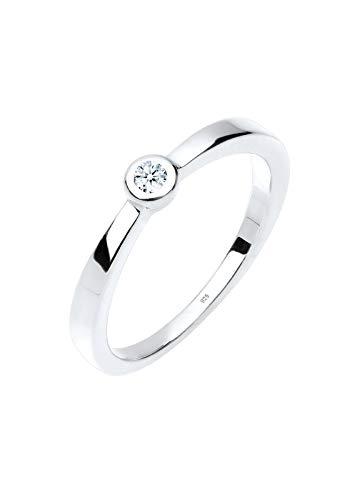 DIAMORE Ring Klassischer Solitär Diamant 0.03 ct. 925 Silber