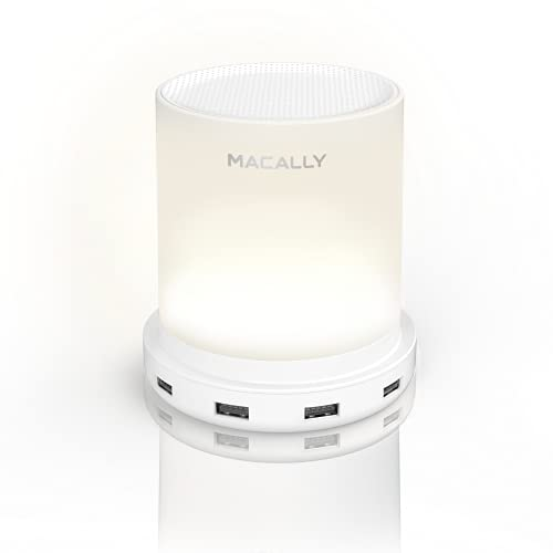 Macally Table Lamp with USB Port - USB Lamp with 4 Fast Charging Ports and Touch Control - Dimmable Warm White Light - Perfect as Small Bedside Lamp for Nightstand or Bedside Night Light - White