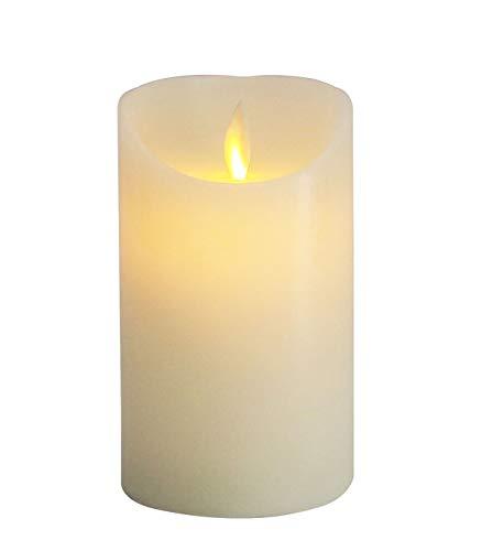 furein Velas LED DE Cera AUTÉNTICA, con Llama LED, 3 tamaños, Color Natural de la Cera, decoración hogar, Restaurante, Oficina, despacho, Ambiente romántico y cálido, sin Llama Real, Segura (15x7cm)