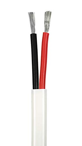 12/2 AWG Duplex Flat DC Marine Wire - Tinned Copper Boat Cable - 18 Feet - White PVC Jacket, Red/Black Conductor - Made in The USA