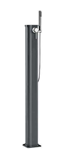 Ducha solar aluminio Jolly Go ARKEMA JG 140-7016 antracita Ducha solar diseño recto total de aluminio con tratamiento anticorrosión barnizado en polvo Capacidad de depósito L 115 x 23 cm. Peso: 9 kg, grifo y doccino mobile