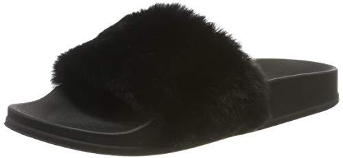 APIKA Damen Flip Flop Kunstpelz Slipper Fuzzy Fluffy Comfy Sliders Offene Zehe(EU 39 schwarz)