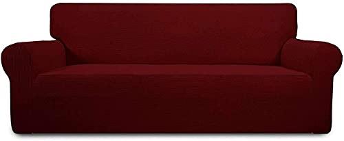 WLVG Funda elástica para sofá, Funda de sofá Suave para 1 2 3 4 plazas Fundas de sofá Resistentes al Agua Protector de Muebles Funda de sofá de una Pieza Funda Protectora para Mascotas-Vino Tinto