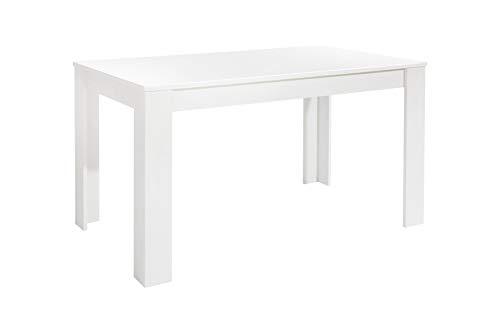 Homexperts NICK Tisch, Spanplatte, Eiche Weiß, 140 x 80 x 75 cm