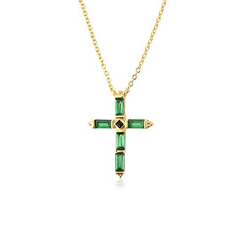 Cruz de colores Collar de cruz de ley 925 Cadena de joyería larga Fina Corto Doris Rosa Rock Punk-Gold Green